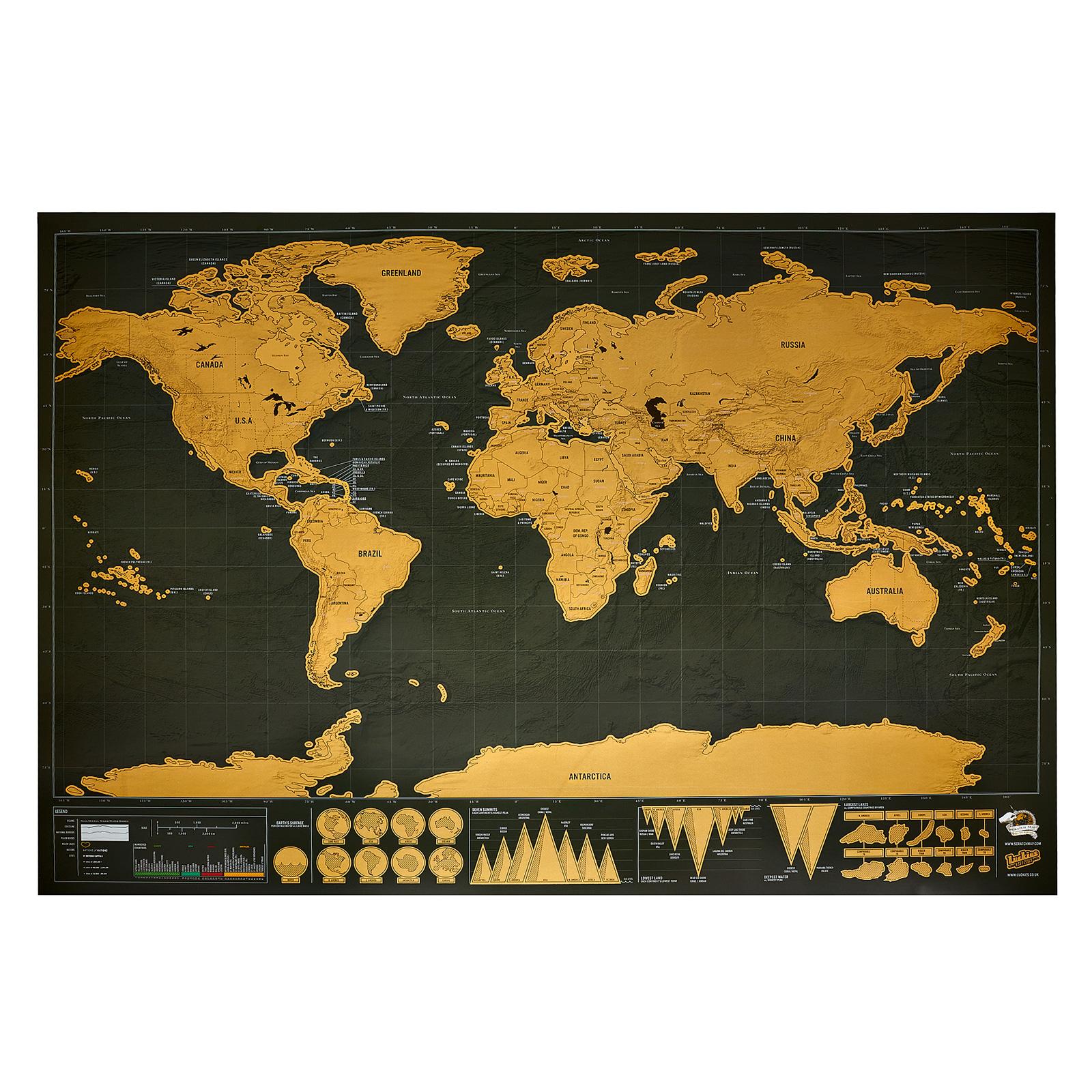 Carte Du Monde à Gratter Noiredorée