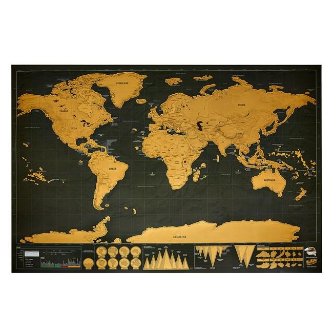 Carte du monde à gratter noire/dorée | Nature & Découvertes