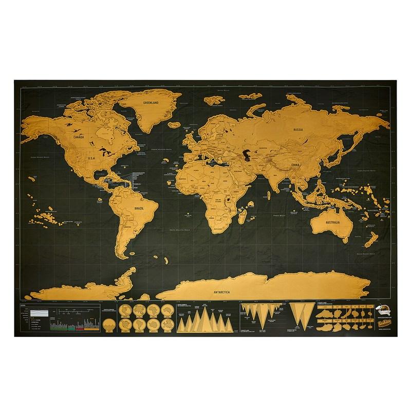 carte nature et découverte Carte du monde à gratter noire/dorée | Nature & Découvertes
