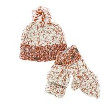 Bonnet chiné orange/beige
