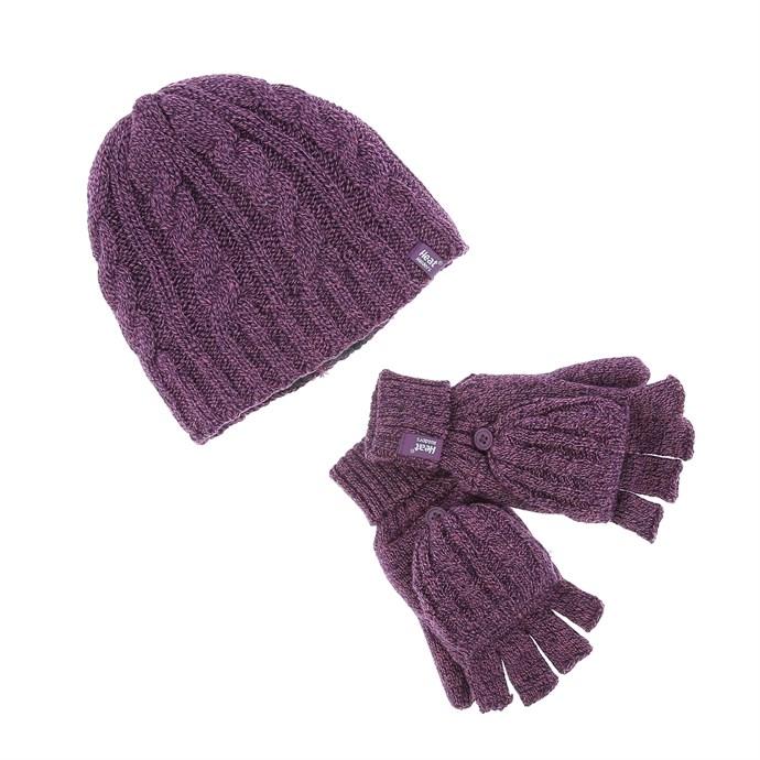 gamme complète de spécifications San Francisco vente pas cher Coffret bonnet et mitaines mauves