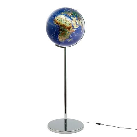 Globe lumineux sur pied avec reliefs