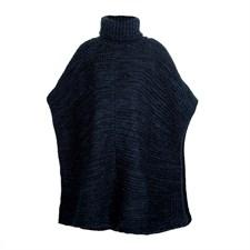 Poncho bleu en laine