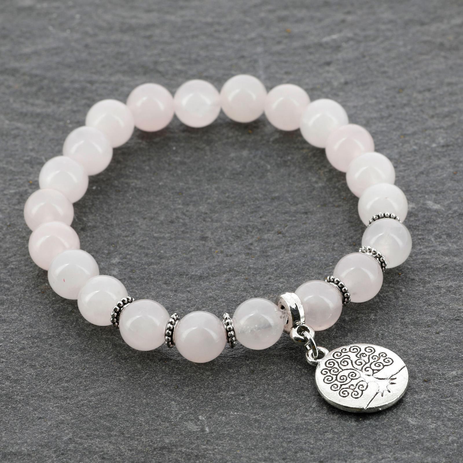 Bracelet en perles de quartz rose