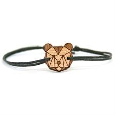Bracelet lin et bois ours