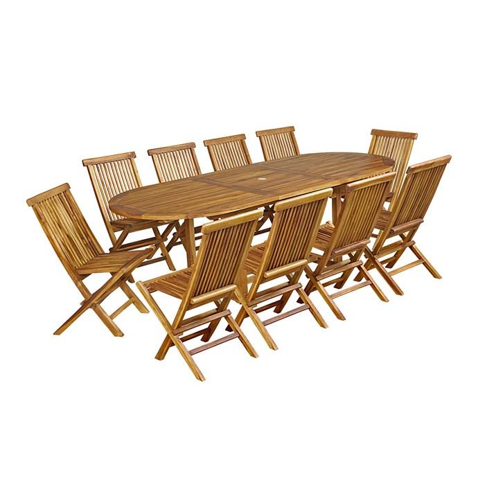 Salon de jardin teck huilé 10 chaises