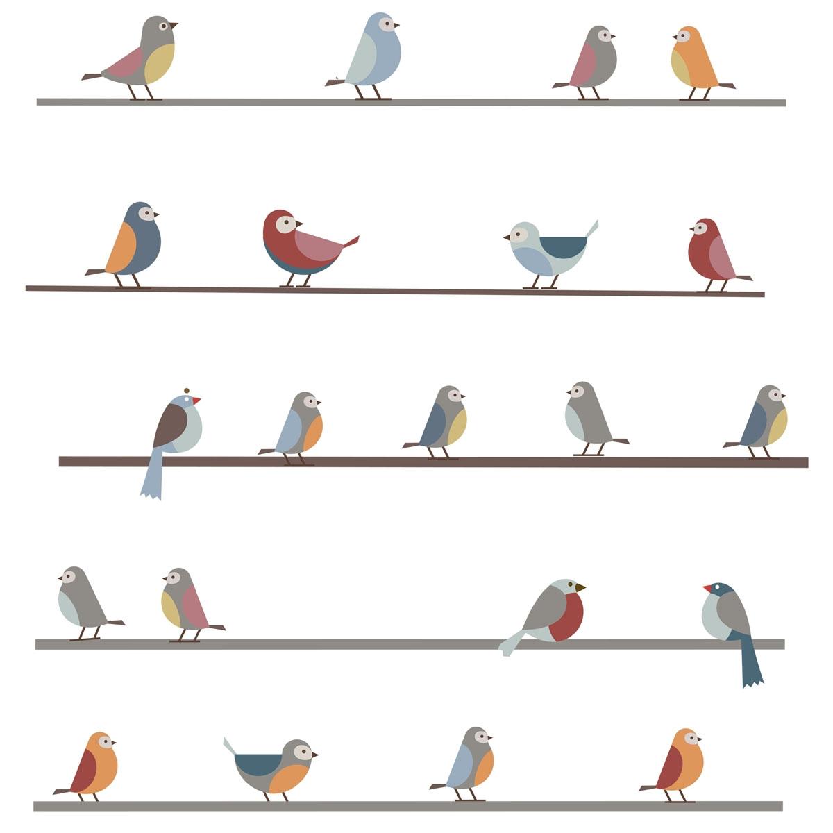 Sticker Oiseaux Sur Un Fil stickers petits oiseaux sur un fil