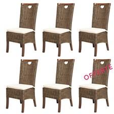 Lot de 6 chaises racine moka en rotin
