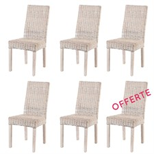 Lot de 6 chaises en kubu tressé zicavo -