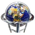 Globe terrestre 33cm 3 pieds chrome bleu