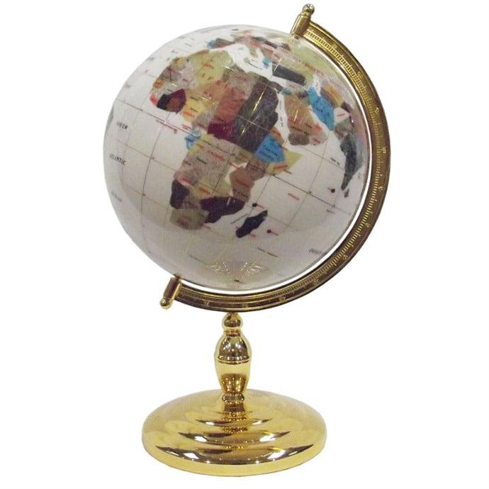 globe terrestre 33 cm 1 pied dor blanc nature d couvertes. Black Bedroom Furniture Sets. Home Design Ideas