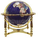 Globe terrestre 33cm 4 pieds dorés bleu