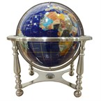 Globe terrestre 33cm 4 pieds aciers bleu