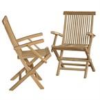 Lot de 2 fauteuils de jardin en teck bru
