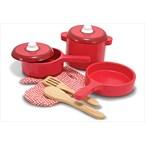Dînette casseroles en bois rouge