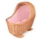 Berceau en osier avec tissu rose