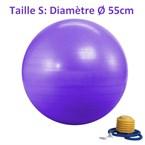 Ballon de yoga violet taille 55 cm