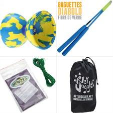 Diabolo jester jaune et bleu + bag super