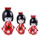 3 poupees kokeshi japonaise - rouge