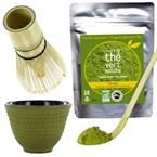 Kit thé matcha, couverts, tasse vert-or