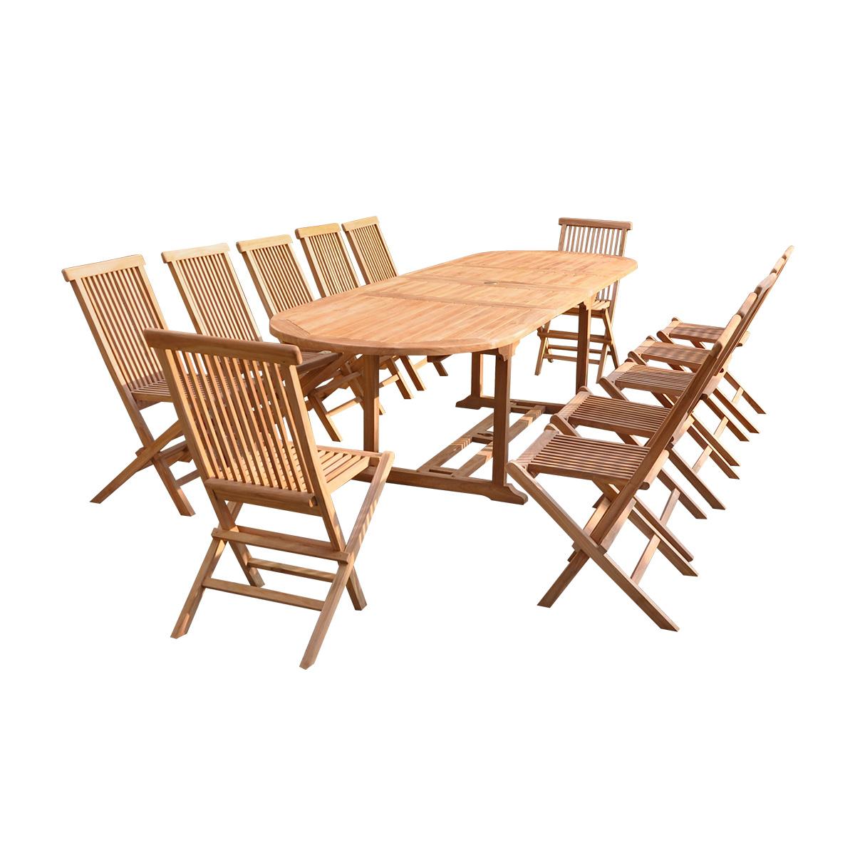 Salon de jardin teck huilé 12 chaises