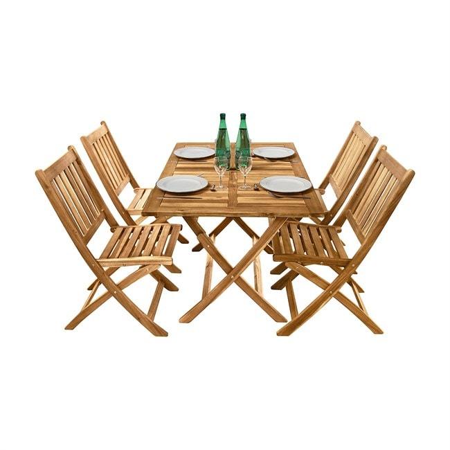 Salon de jardin en acacia 4 chaises | Nature & Découvertes