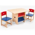 Table rangement enfant bois naturel