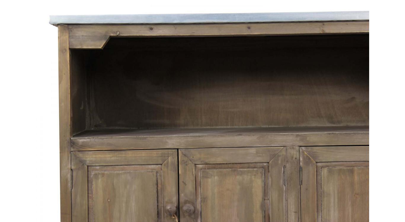 Meuble bas rangement bois plateau zinc
