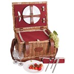 Panier picnic cuir trianon rouge 2 pers.