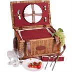 Panier picnic cuir trianon rouge 4 pers.