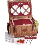 Panier picnic cuir trianon rouge 6 pers.