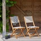 Lot 2 chaises pliantes en bois d'acacia