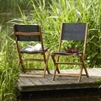 Lots de 2 chaises acacia et textilène