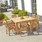 Table de jardin teck carrée 6 à 8 places