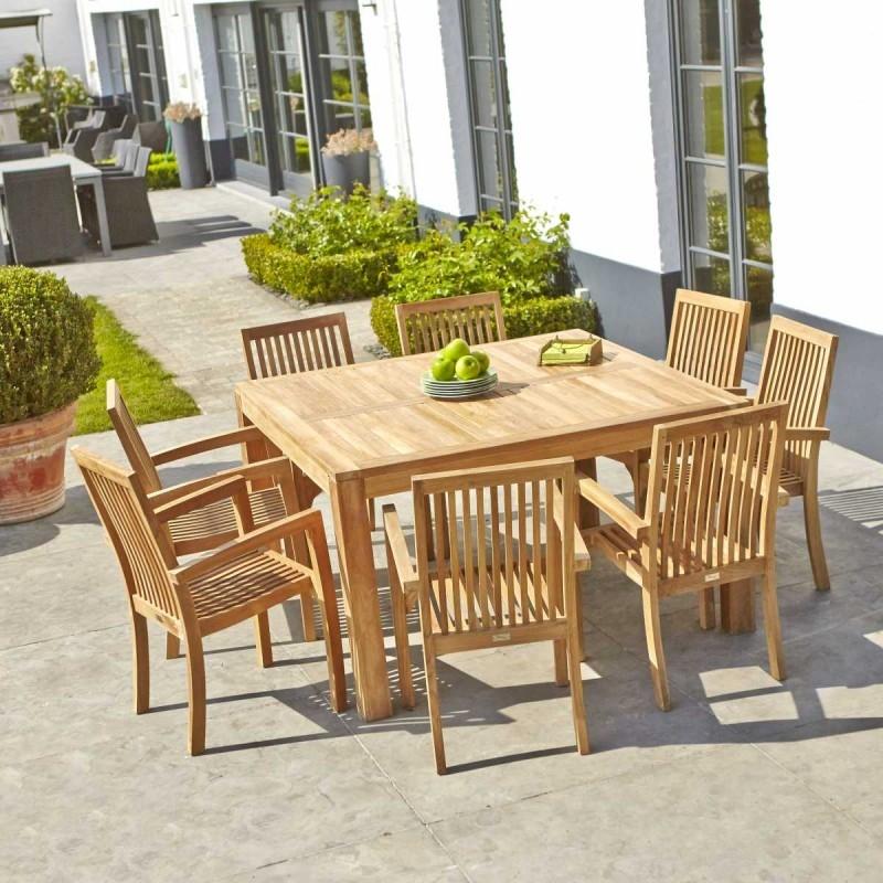 Table De Jardin Teck Carree 6 A 8 Places Nature Decouvertes