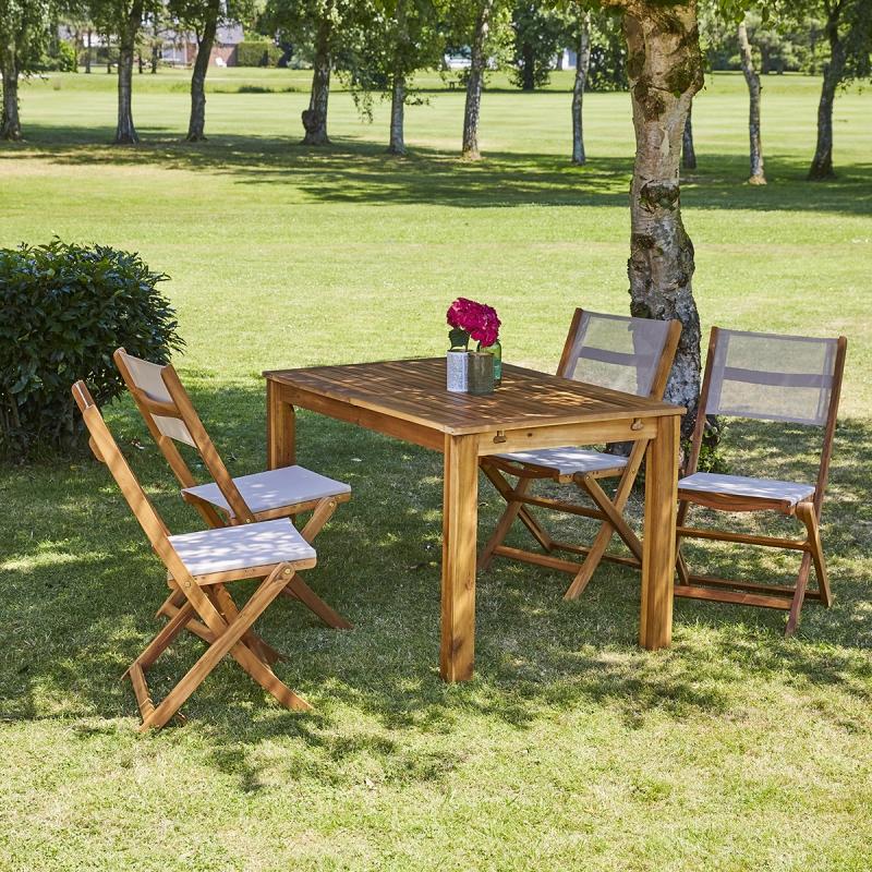 Salon de jardin acacia 6 à 8 places