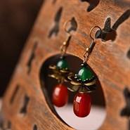 Boucles d'oreille en agate et cuivre