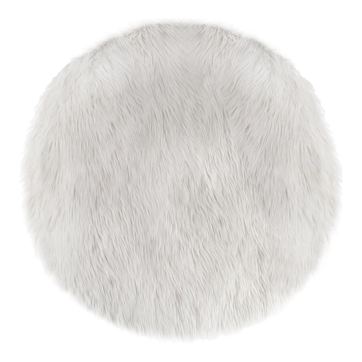 Tapis Rond Fausse Fourrure Blanc Nature Decouvertes