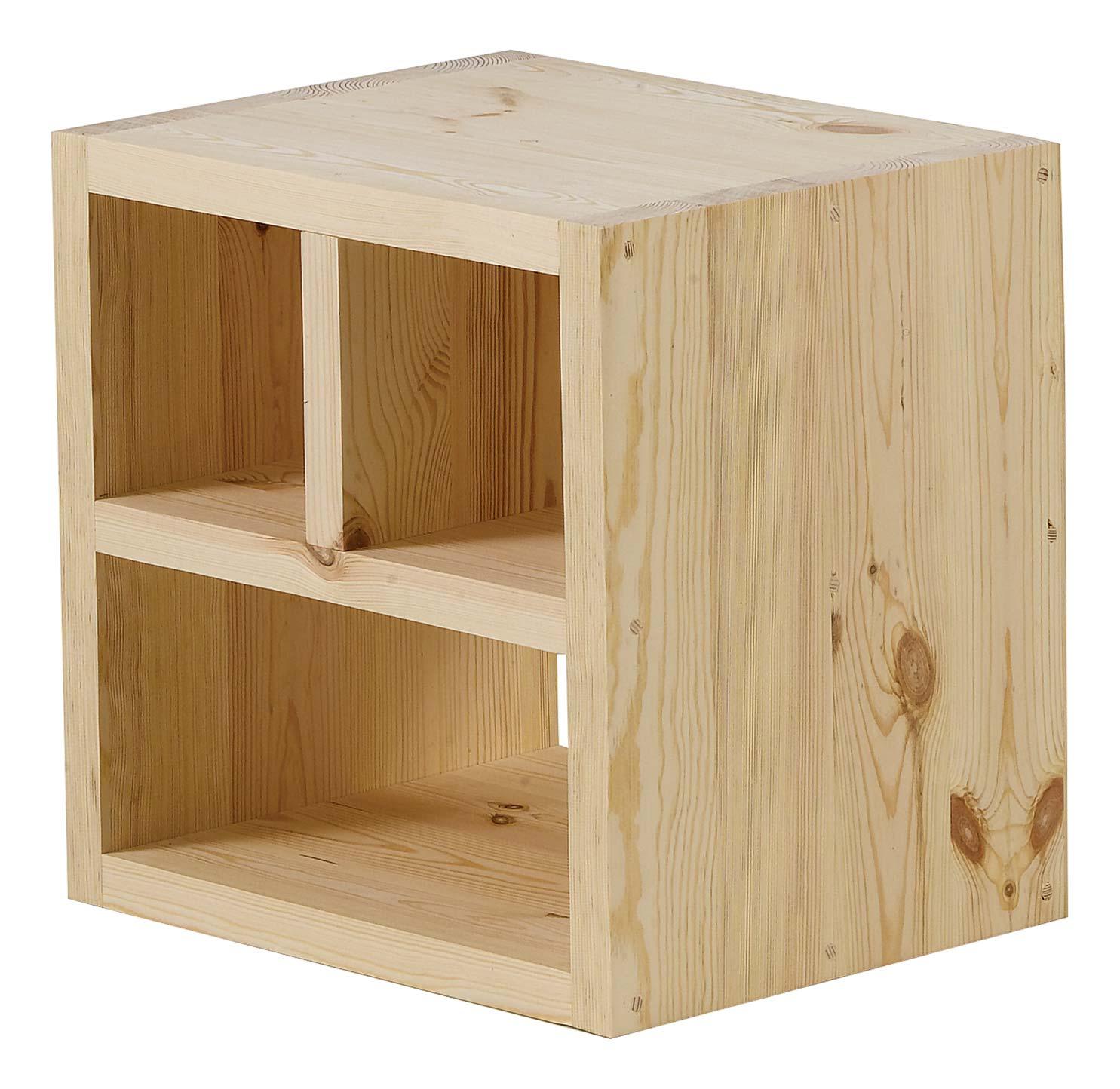Meuble En Sapin Brut cube de rangement pin brut 3 niches | nature & découvertes