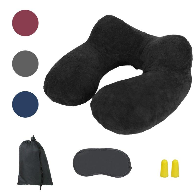 Kit de coussin de voyage gonflable noir  