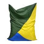 Pouf géant vert, jaune et bleu