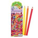 6 crayons de couleurs fluo- hibou