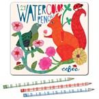 Crayons aquarelle- écureuil et oiseau