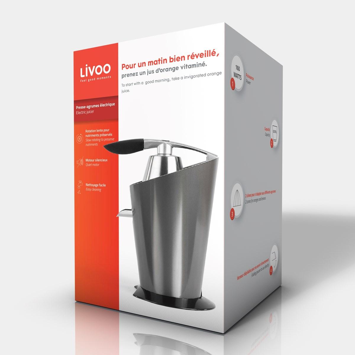 LIVOO Feel good moments Presse agrumes électrique Gris